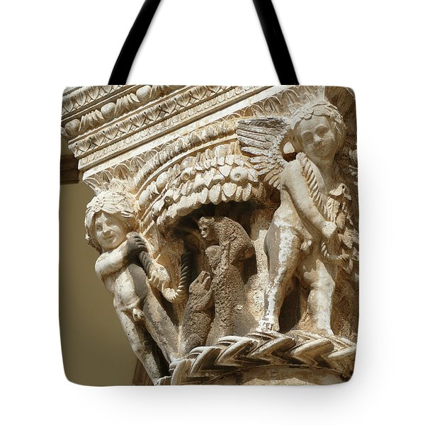 Figures On Capitals Of The Rector's Palace Tote Bag