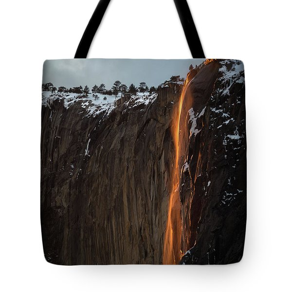 Tote Bag featuring the photograph Fire Falls by Vincent Bonafede