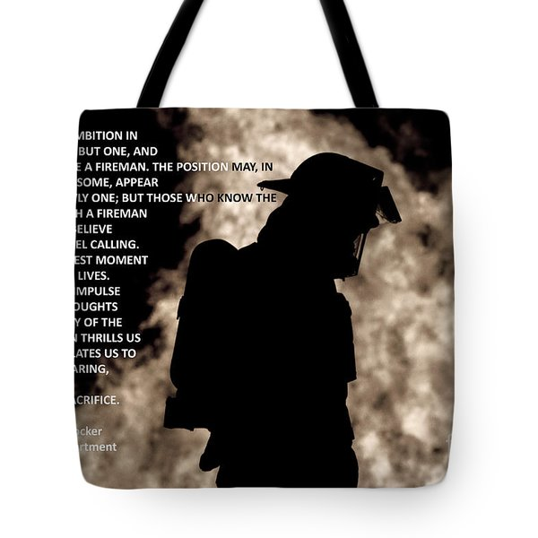 Firefighter Poem Tote Bag