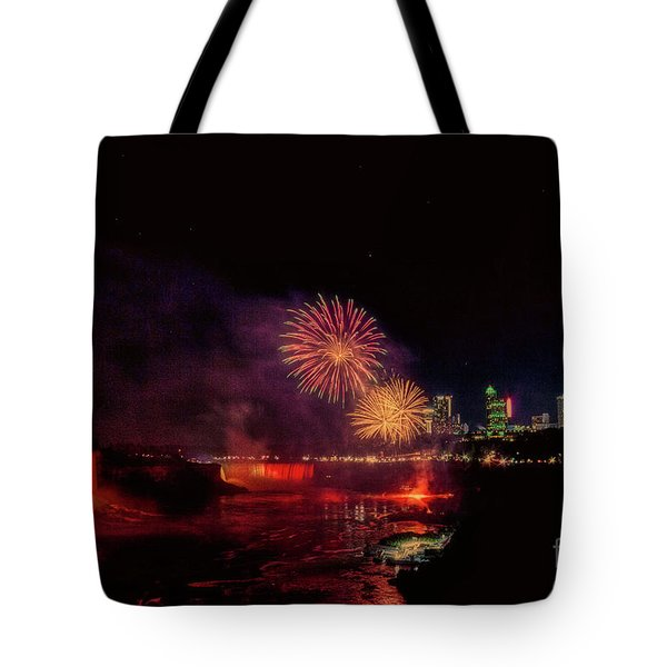 Fireworks Over The Falls. Tote Bag