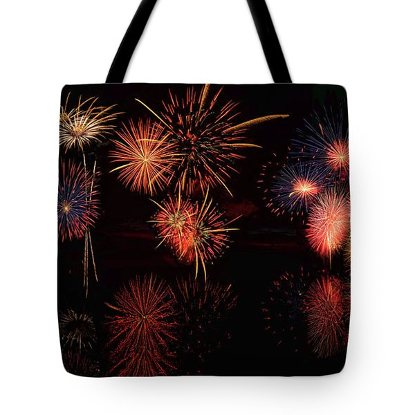 Tote Bag featuring the digital art Fireworks Reflection Panorama by OLena Art Brand