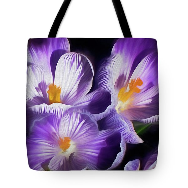 Tote Bag featuring the mixed media First Crocuses On The Sunny Side Of The Street by Lynda Lehmann