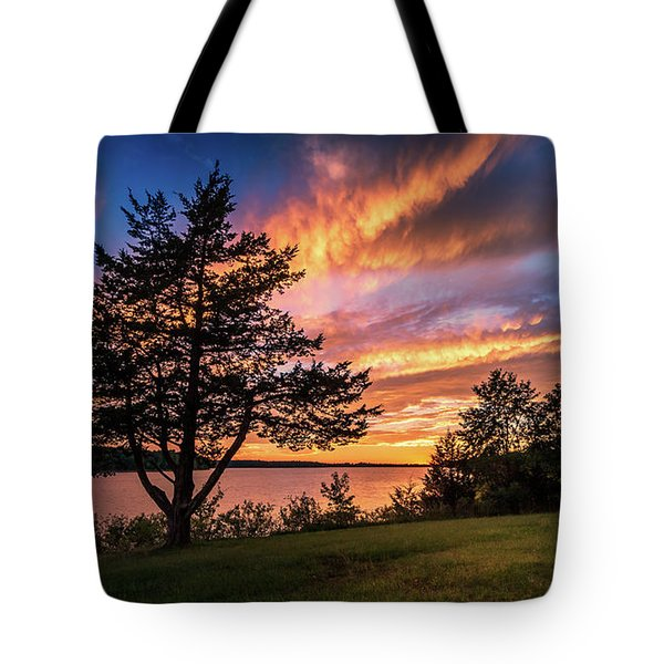 Fishing At End Of Day Tote Bag