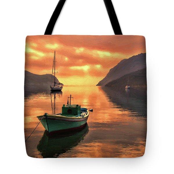 Fishing Boats At Sunset Simi Greek Islands-dwp40406001 Tote Bag