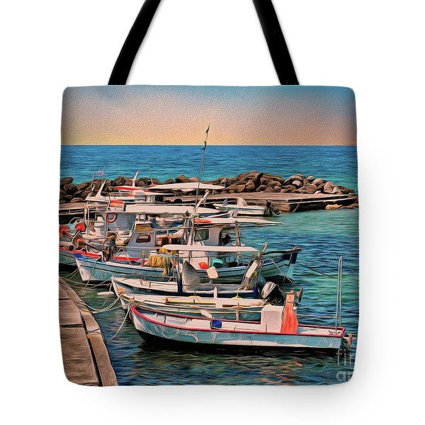 Tote Bag featuring the photograph Fishing Boats Corfu by Leigh Kemp