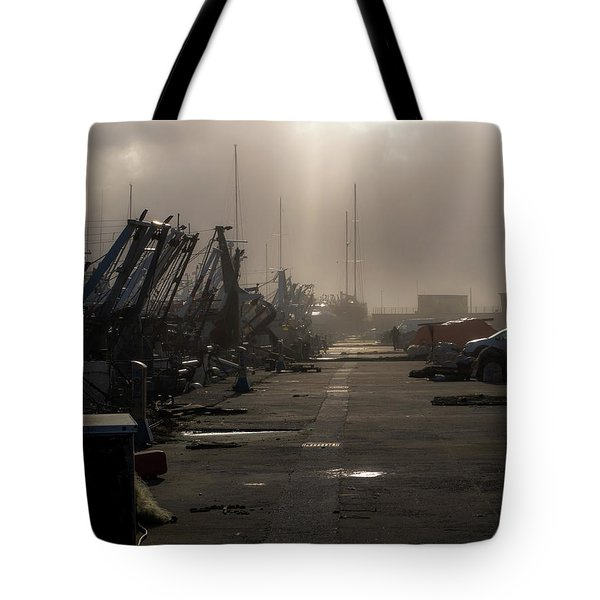 Fishing Boats Moored In The Harbor Tote Bag