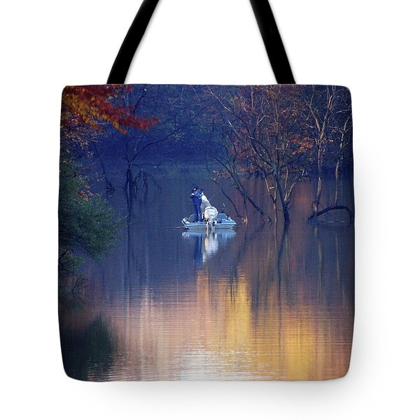 Tote Bag featuring the photograph Fishing In The Fall by Mike Murdock