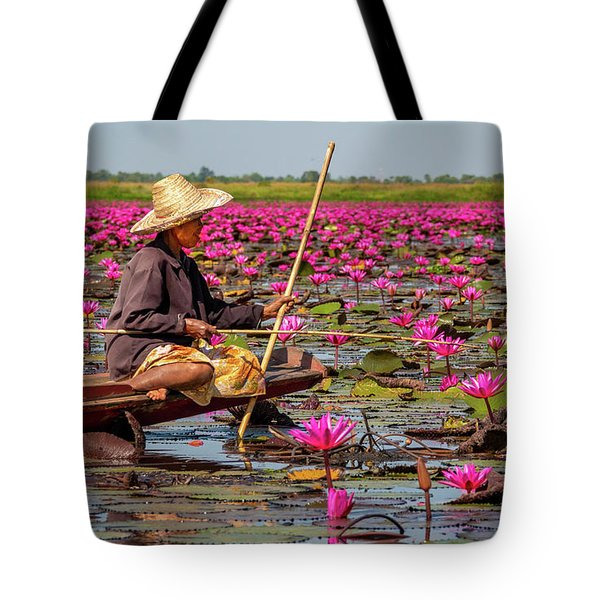 Tote Bag featuring the painting Fishing In The Red Lotus Lake by Jeremy Holton