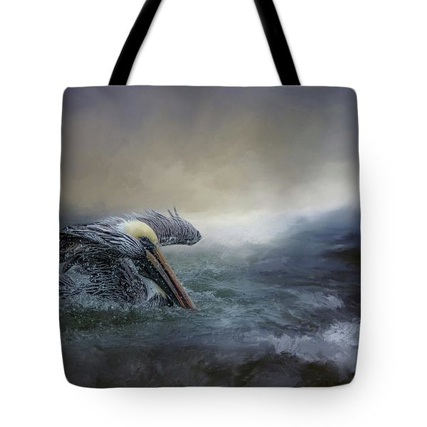 Fishing In The Storm Tote Bag
