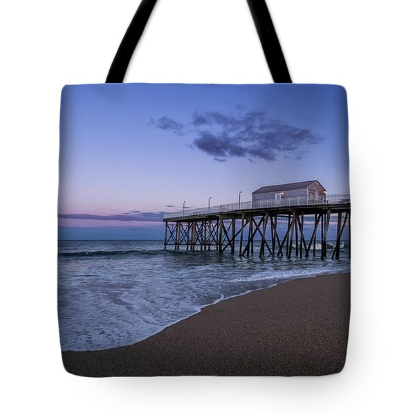 Tote Bag featuring the photograph Fishing Pier Sunset by Steve Stanger