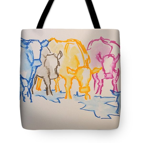 Five Cows Five Colors Watercolor Line Drawing Tote Bag