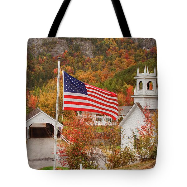 Tote Bag featuring the photograph Flag Flying Over The Stark Covered Bridge by Jeff Folger