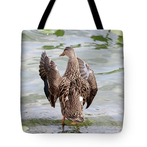 Flapping Female Mottled Duck Square Tote Bag