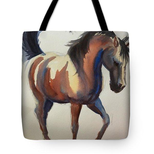 Flashing Bay Horse Tote Bag
