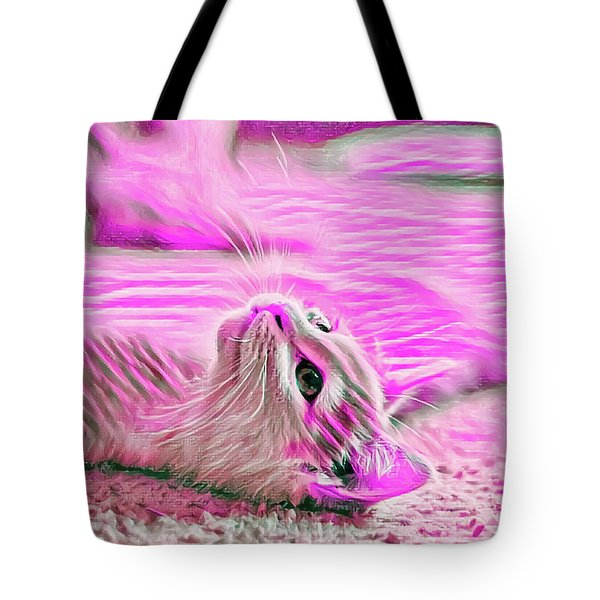 Tote Bag featuring the digital art Flat Cat Pink by Don Northup