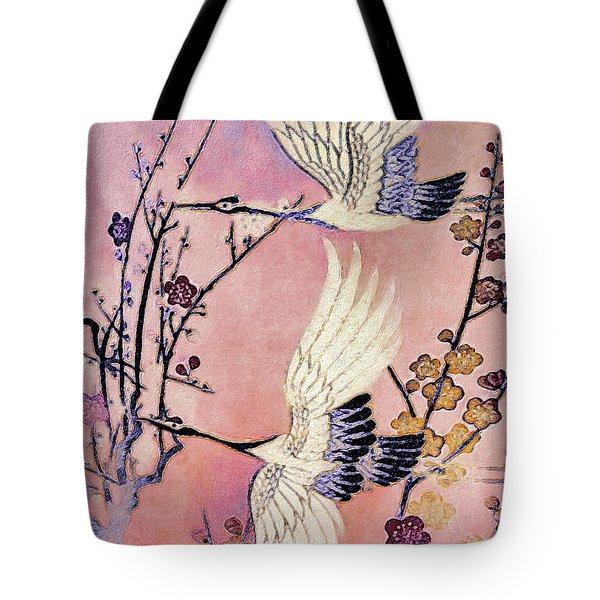 Flight Of The Cranes - Kimono Series Tote Bag