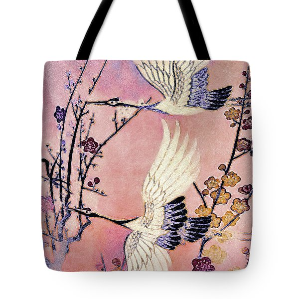 Flight Of The Cranes - Kimono Series Tote Bag