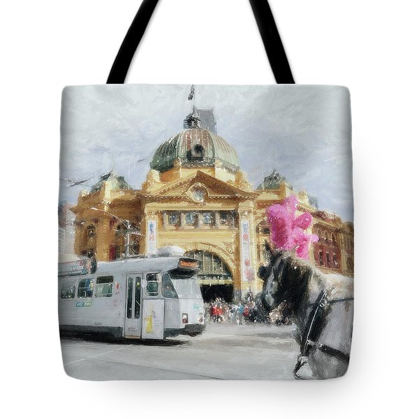 Tote Bag featuring the painting Flinders Street Station, Melbourne by Chris Armytage