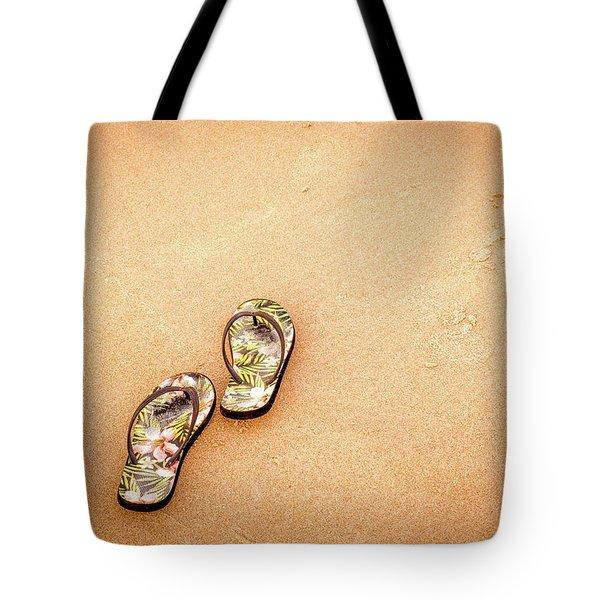 Flip-flops On The Sand. Tote Bag