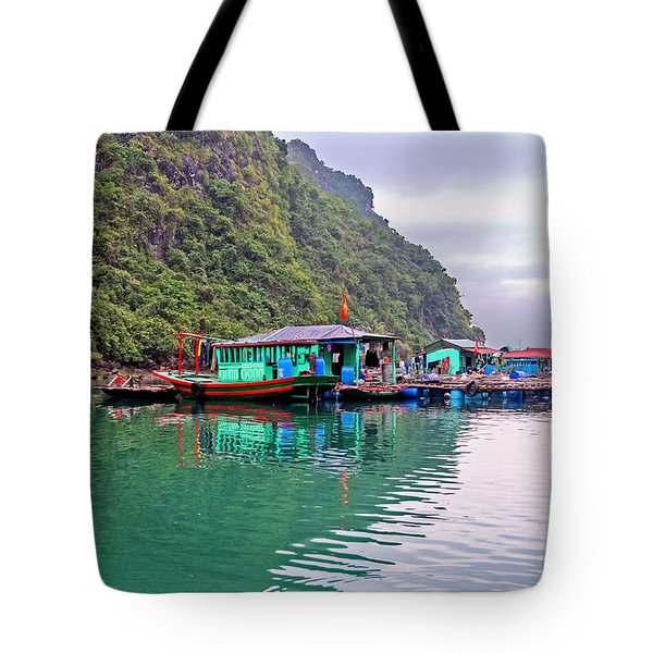 Floating Market In Halong Bay, Vietnam Tote Bag