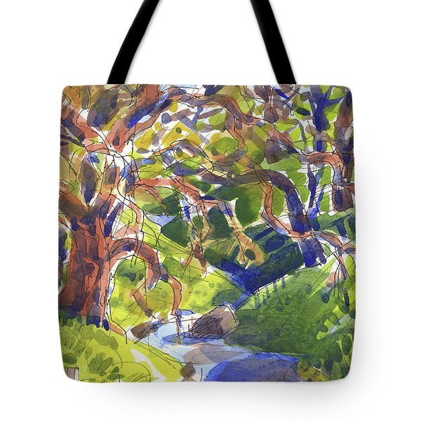 Tote Bag featuring the painting Flooded Trail by Judith Kunzle