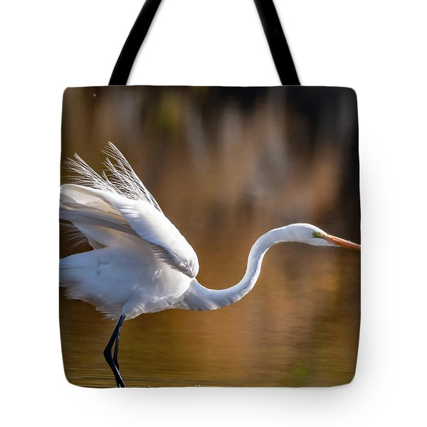 Floofy Egret Tote Bag