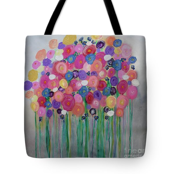 Tote Bag featuring the painting Floral Balloon Bouquet by Kim Nelson