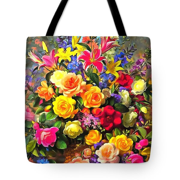 Floral Bouquet In Acrylic Tote Bag