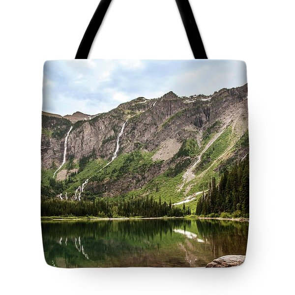 Floral Park Falls Monument Falls Avalanche Basin Falls Across Avalanche Lake Glacier National Park Tote Bag