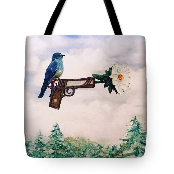 Flower In A Gun- Bluebird Of Happiness Tote Bag