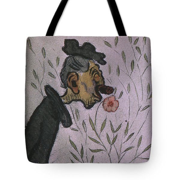 Tote Bag featuring the drawing Flower Sniffer  by Ivar Arosenius