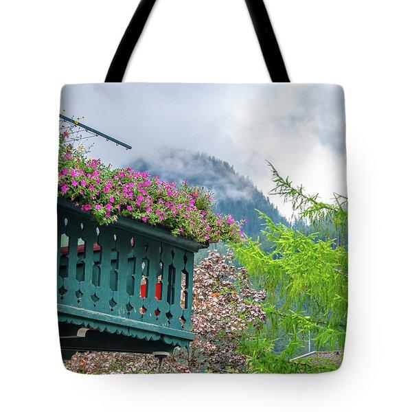 Flowered Balcony Tote Bag
