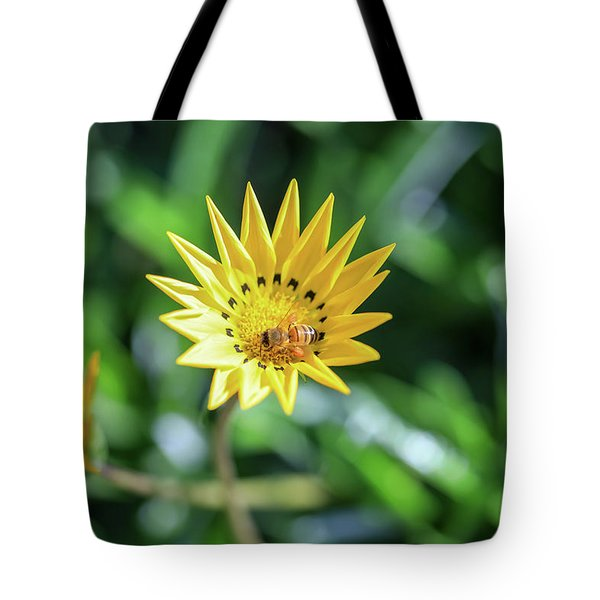 Yellow Flowers And A Bee Tote Bag