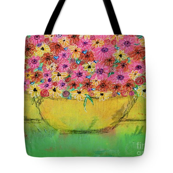 Tote Bag featuring the painting Flowers For Debbie by Kim Nelson
