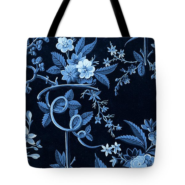 Flowers On Dark Background, Textile Design Tote Bag