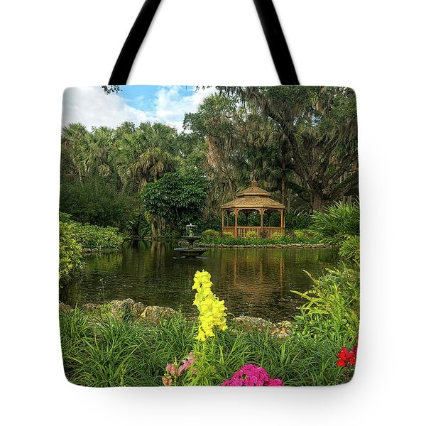 Tote Bag featuring the photograph Flowers To Gazebo By The Lake by Claire Turner