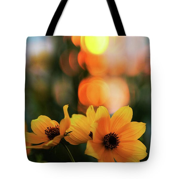 Flowery Bokeh Sunset Tote Bag