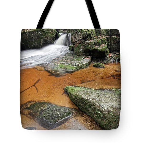 Flowing Water Through Boulders On A Forest Creek Tote Bag