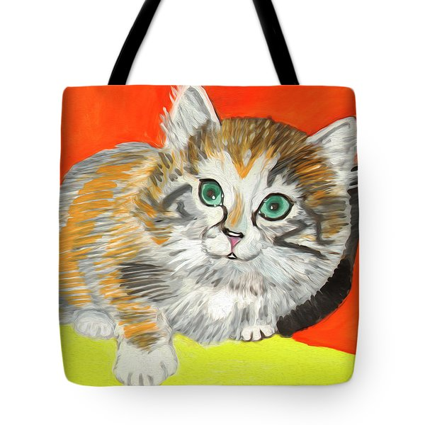 Tote Bag featuring the painting Fluffy Kitten by Dobrotsvet Art