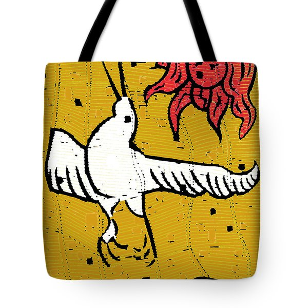 Flying Bird And Red Sun Face Tote Bag