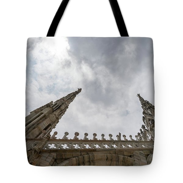 Flying Buttresses And Airy Spires - Milans Cathedral Duomo Di Milano Tote Bag