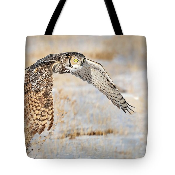 Flying Great Horned Owl Tote Bag