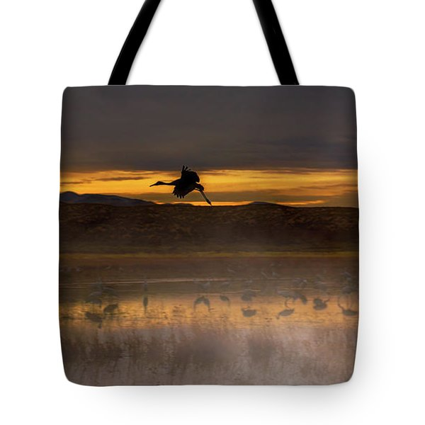 Flying Over Crane Pond Tote Bag
