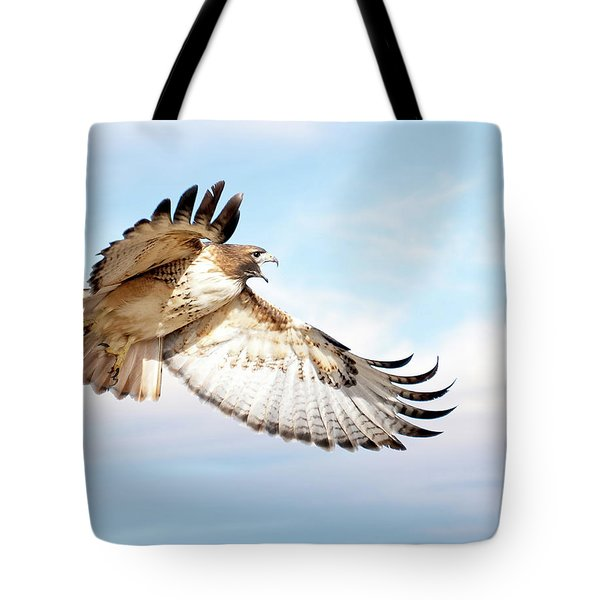 Flying Red-tailed Hawk Tote Bag