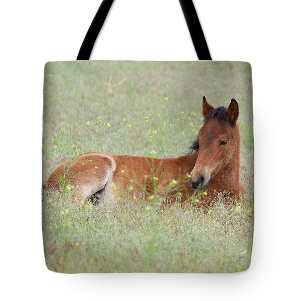Foal In The Flowers Tote Bag