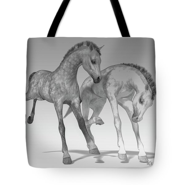 Foals Black And White Bleached Tote Bag