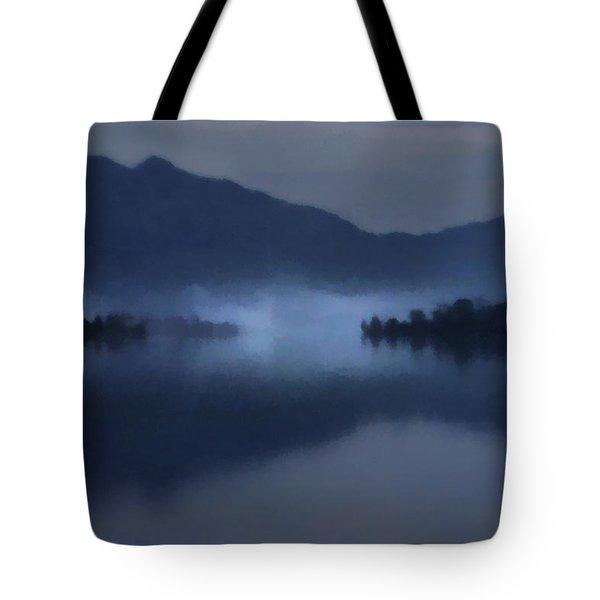 Fog On The Dark Mountain Lake Tote Bag