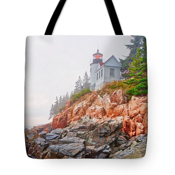 Foggy Bass Harbor Lighthouse Tote Bag