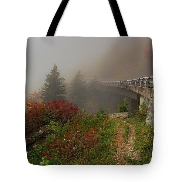 Foggy Blue Ridge Parkway - Linn Cove Viaduct Fall Tote Bag