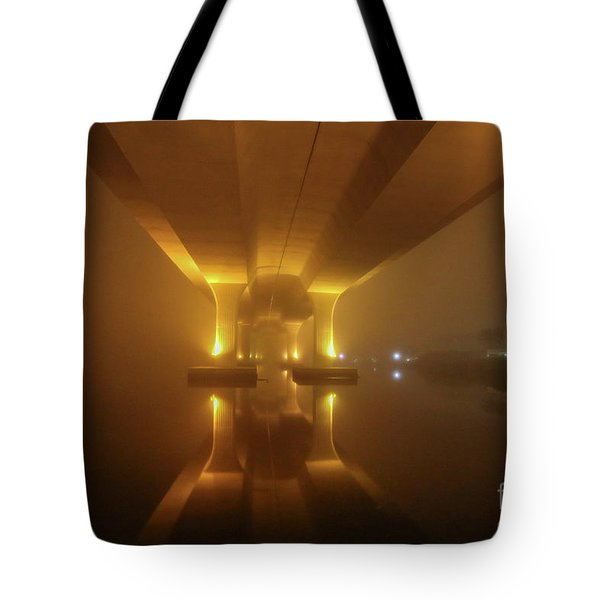 Tote Bag featuring the photograph Foggy Bridge Glow by Tom Claud